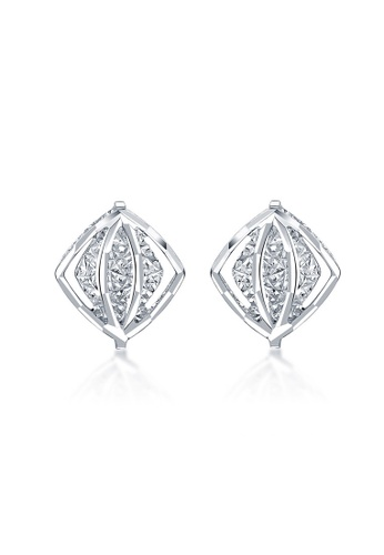 MaBelle silver 14K White Gold Double Layer Faceted Rhombus Stud Earrings MA584AC2W736HK_1