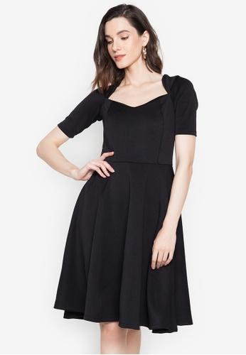 Hug black Aria A-Line Midi Dress 662CCAA8A92493GS_1