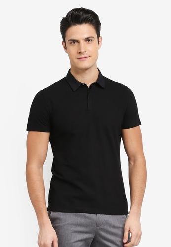 G2000 black Woven Collar Polo 6040AAA2D78832GS_1