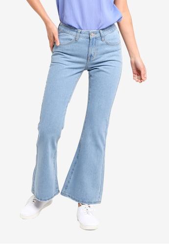 ZALORA BASICS blue Basic Flare Jeans E4888AABBDE991GS_1