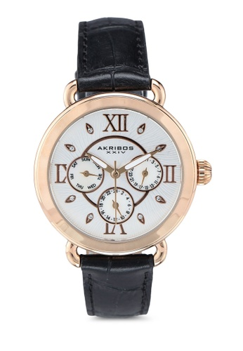 Akribos XXIV black Date Swarovski Watch 24E28ACEBCC51FGS_1