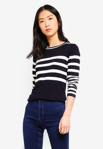 ee6ebded5e7 Navy Fitted Striped Jumper