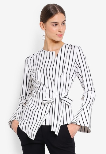 Lavish Alice white and multi Asymmetric Stripe Top C3CA9AAC4F806AGS_1