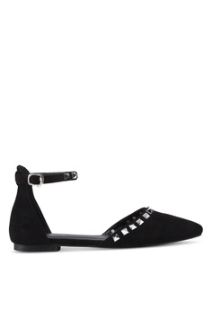 b8a1142feb4 Something Borrowed black Studded Ballerina Flats With Ankle Strap  90A4BSHFE1D510GS 1