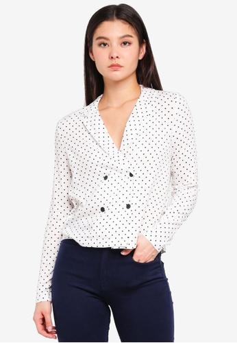 ICHI white Dripa Shirt F1917AA03C5B5EGS_1