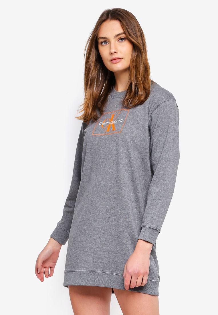 Sweatshirt Heathe Mid Dress A Graphic Grey Klein Calvin O6HS1x