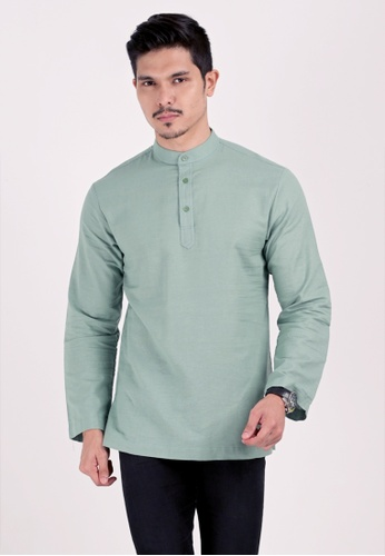 VELRIA green KURNIA Cotton Linen Modern Kurta 52873AA92D7C1CGS_1