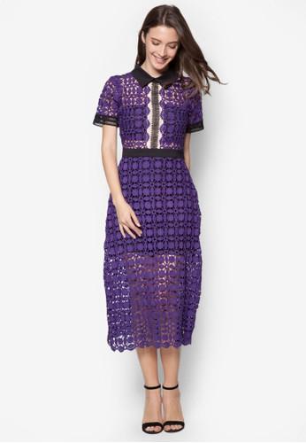 Lesley's 撞色esprit台灣outlet領蕾絲及膝洋裝, 服飾, 洋裝