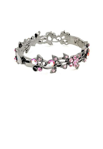 Glamorousky pink Elegant Flower Bangle with Pink Austrian Element Crystals 858A3ACF3E7852GS_1