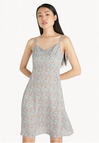 Pomelo blue V Neck Floral Flared Cami Dress - Blue 470C4AAFAB89E4GS_1