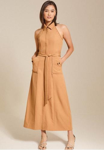 Dressing Paula beige Belted Cady Halterneck Midi Dress F7D93AAB625CD1GS_1