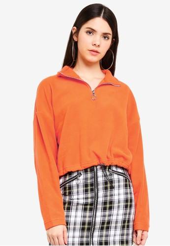 Factorie orange Crop Qtr Zip Polar Fleece Sweatshirt 2A123AA654B33BGS_1
