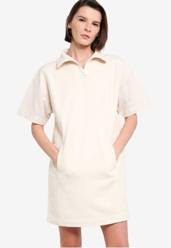 ck Calvin Klein beige LOOP BACK COTTON TERRY MESH DRESS WITH RING PULLER AEF2BAAAA639C4GS_1