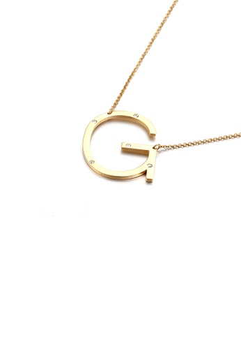 Glamorousky white Simple Personality Plated Gold English Alphabet H 316L Stainless Steel Pendant with Cubic Zirconia and Necklace 64FB7ACE6B2077GS_1