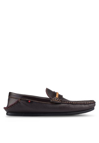 UniqTee brown Front Braided Contrast Strap Loafers UN097SH0S215MY_1