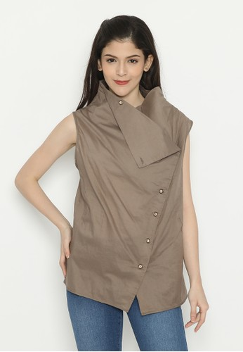 Mobile Power brown Sleeveless Top Combination Collar Cocoa Brown Mobile Power Ladies - D10033 BF079AA5539CC9GS_1