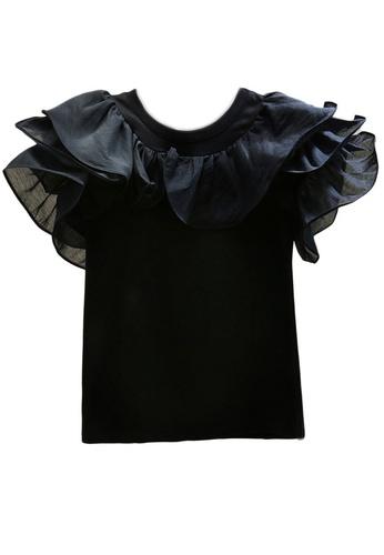 Sunnydaysweety black Black Ruffled Sleveves T-shirt Top A21032007 1654EAA7C5AEA8GS_1