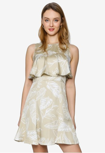 Saturday Club beige Printed Dress With Ruffled Layer 9CE44AA8390188GS_1