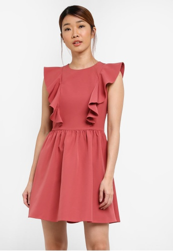 Something Borrowed pink Printed Ruffled Shoulder Dress BF2EBAA341E648GS_1