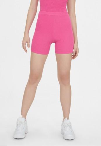 Pomelo pink Ribbed Biker Shorts - Pink 942DBAAA48288BGS_1