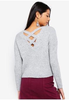 26edea7375f9 Miss Selfridge grey Petite Grey Lattice Back Knitted Jumper  283D5AACB8D2D2GS 1