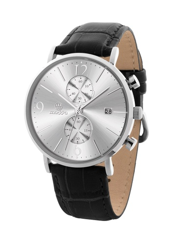 Massa Collections Generous White Silver Chronograph Quartz Leather Watch 9F467ACD9CE204GS_1