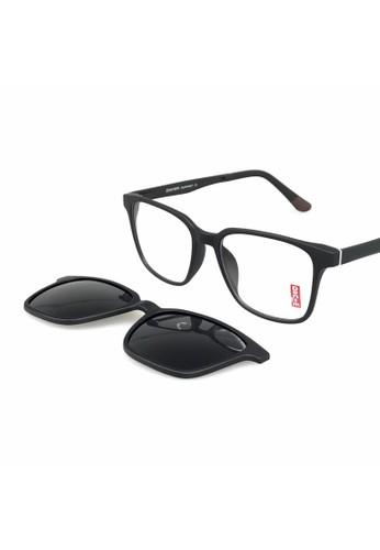 Ibrillen Optical black DENIM CLIP ON GLASSES With 2 Polarized Clip On - Matte Black/Brown D158BGL092E309GS_1
