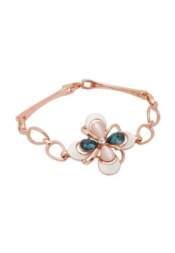Jaysa Collection gold Exquisite White Petals Rose Gold Bracelet with Aquamarine Crystals JA875AC0FG6MSG_1