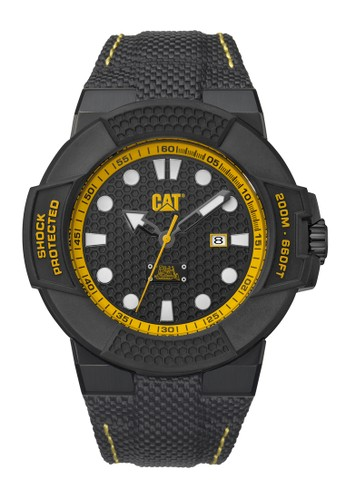 Caterpillar black and yellow CAT Special Edition Shockmaster Men's Watch CAT SF.161.61.111 Black Yellow Black Nylon Strap CA116AC0UGADID_1