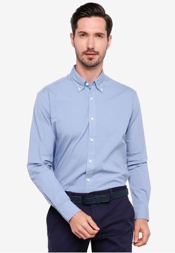 Sacoor Brothers blue Regular fit cotton elastane comfort poplin shirt in garment dye BB331AA7ADA221GS_1