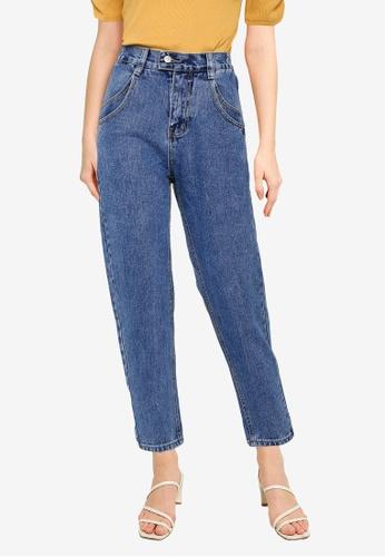 UniqTee 藍色 Elastic Waistband Mom Jeans 5FECBAA20D2A10GS_1