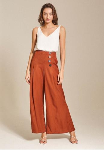 Dressing Paula orange Button-Embellished Wide-Leg Pants 68057AA83071ABGS_1