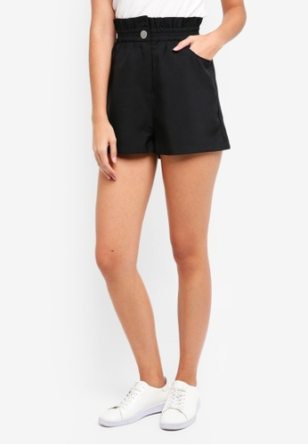 ZALORA black Paperbag Waist Shorts 47063AADB6BA4DGS_1