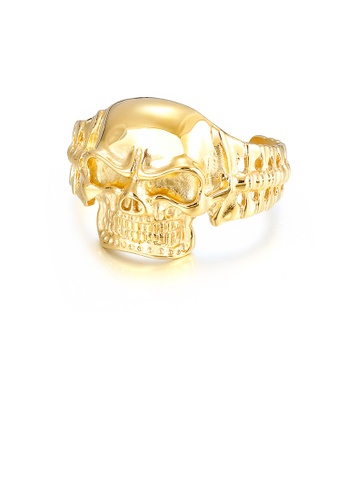 Glamorousky silver Domineering Personality Plated Gold Skull 316L Stainless Steel Bangle 2B64AAC50941EDGS_1