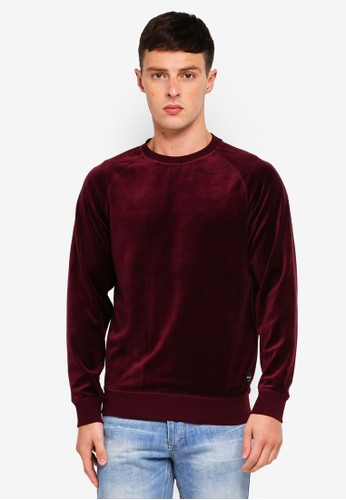 Only & Sons red Travis Velvet Crew Sweatshirt 6109DAABBD92C0GS_1