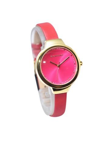 Giordano Jam Tangan Wanita - Merah-Emas - Strap Leather - 2702-02