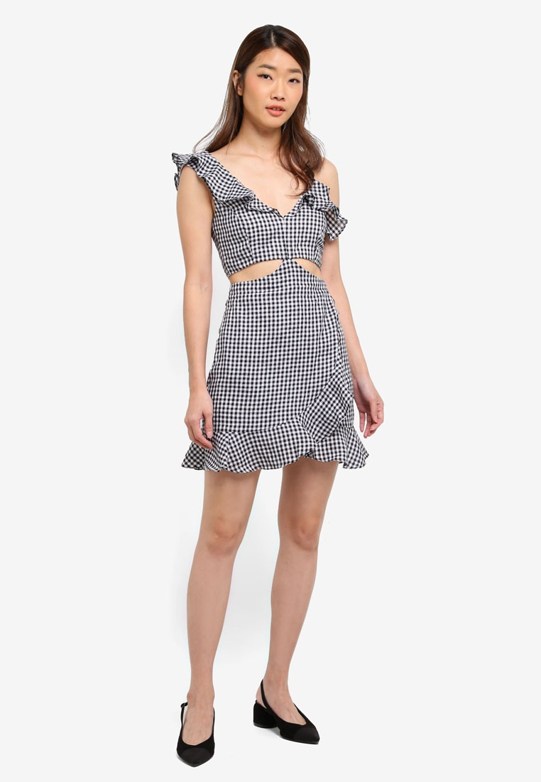 Jamie Black Out Cut Gingham Dress Bardot qq7RPw