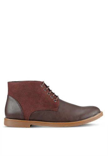 UniqTee brown Textured Lace Up Ankle Boots UN097SH0RS50MY_1