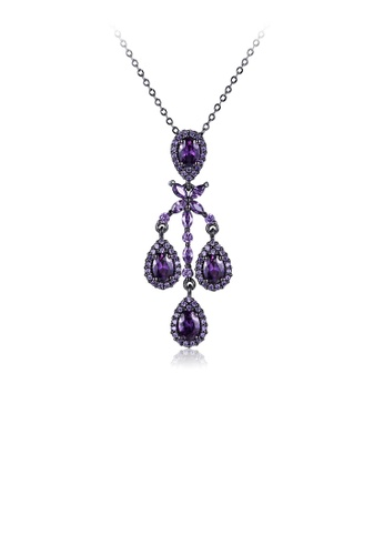 Glamorousky purple 925 Sterling Silver Fashion Vintage Geometric Pendant with Purple Cubic Zircon and Necklace A351EAC2EFC9B3GS_1
