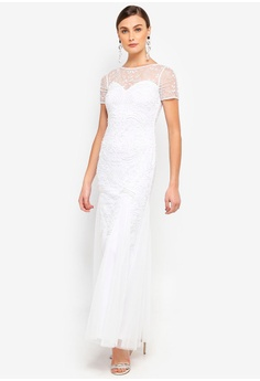 917203e07fb1 Frock and Frill white Tiki Embellished White Maxi Dress E4D4CAAA9BB398GS 1
