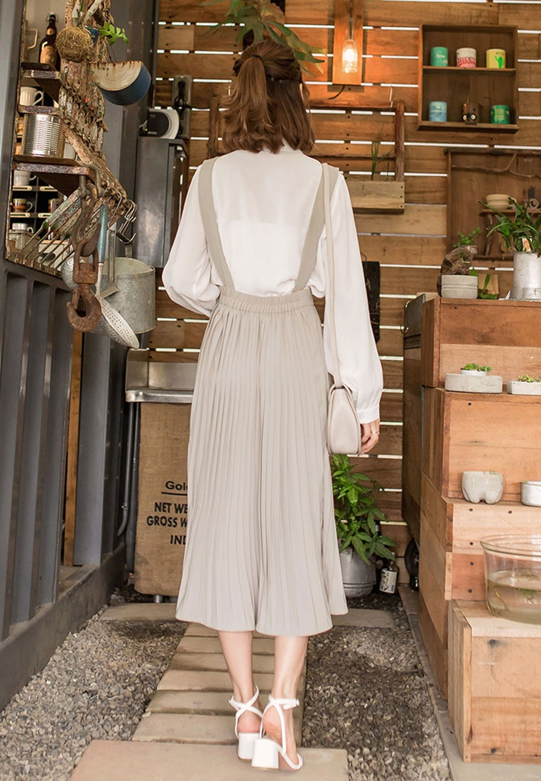 Beige Beige Pleated Tokichoi Suspender Tokichoi Pleated Suspender Skirt Pleated Skirt Tokichoi TawWv