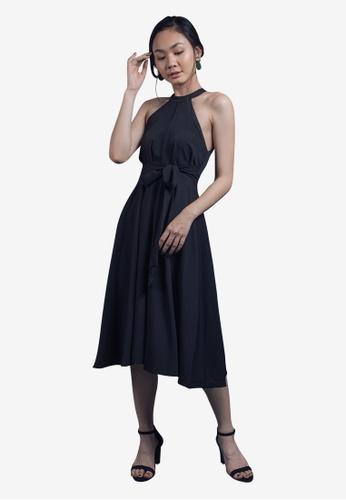 Caoros black Halter Empire Waist Dress FACFCAAE6E63BCGS_1