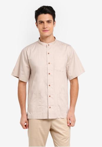 Zalia Homme brown Stand Collar Short Sleeve Shirt FEC05AA4350835GS_1
