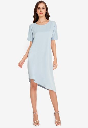 ZALORA WORK blue Asymmetric Hem Dress 78925AA692B45AGS_1