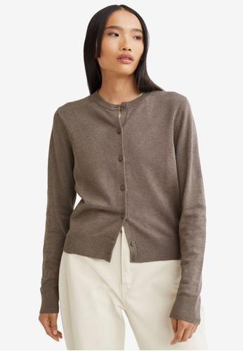 H&M grey and beige Fine-Knit Cardigan 7E6DEAA1CD5B69GS_1