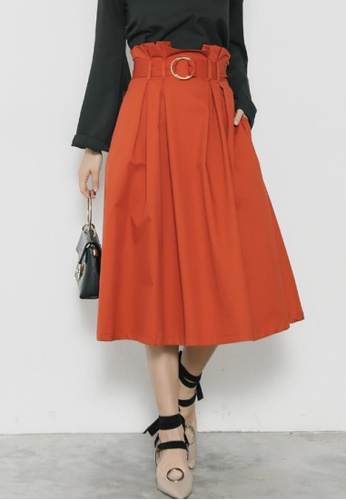 Shopsfashion orange Flare Midi Skirt with Belt SH656AA70LGBSG_1