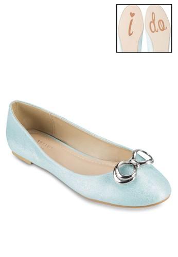 Occaesprit outlet 家樂福sion 金屬蝴蝶結圓形鞋頭平底鞋, 女鞋, 鞋
