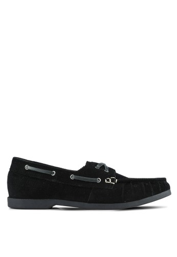 JAXON black Corduroy Boat Shoes DC327SHC811E45GS_1