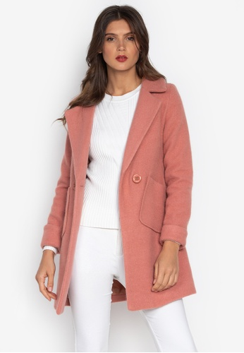 Well Suited pink and orange Wool Short Trench Coat 4E120AA940E647GS_1