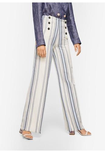 Mango blue Striped Linen-Blend Trousers 03270AA34C8974GS_1